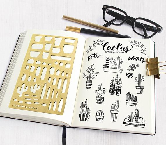 Bullet Journal Stencil, Planner Stencils, Cactus Drawing Stencils - fits A5 & Midori Regular