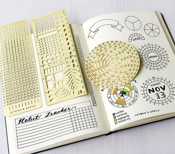 Bullet Journal Essential Stencil Set, Circle Chart Grid Chart Stencils - fits A5 journal & Midori Regular