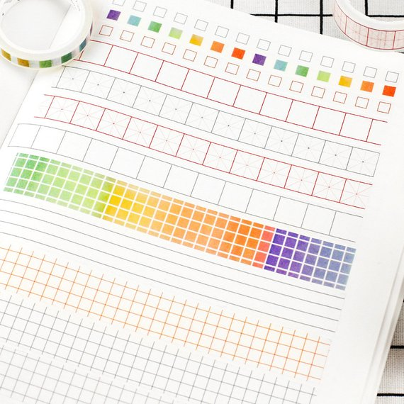 Square Checklist Washi Tape in Rainbow Colors