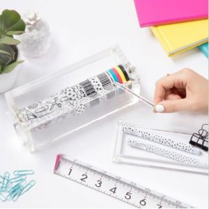 Washi Tape Set with Acrylic Dispenser