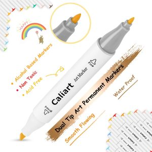 Caliart 100 Colors Dual Tip Alcohol Based Art Markers Permanent Markers Twin Sketch Markers Pens Highlighters with Case for Adult Coloring Drawing Sketching Card Making Illustration