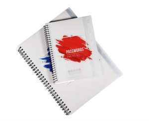 """Mini Spiral Password Book with Alphabetical Tabs and Removable Sheets. Small Best Password Organizer Books Keeper, Red - 5.5"""" x 7"""""""