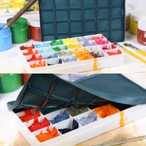 Transon Artist Paint Palette Box 24 Large Deep Wells Airtight for Watercolors, Gouache, Acrylic