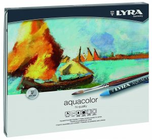 LYRA Aquacolor Water-Soluble Wax Crayons, Set of 24 Crayons, Assorted Colors pencils (5611240)