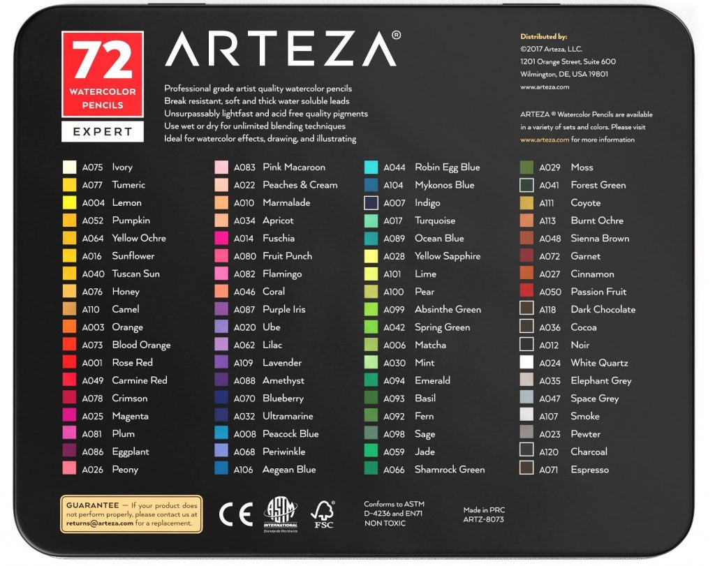 ARTEZA Professional, Set of 72, Multi Colored Art Drawing Pencils in Bright Assorted Shades, Ideal for Coloring, Blending and Layering, Watercolor Techniques