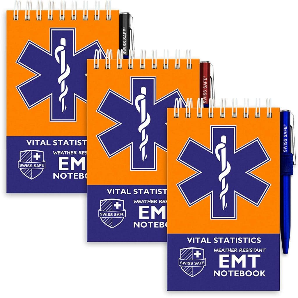 EMT Vital Notebook (3-Pack) - Includes 3 Pens, 140 Waterproof Pages/Notepad. Designed for Emergency First Responders, EMS Medical Professionall