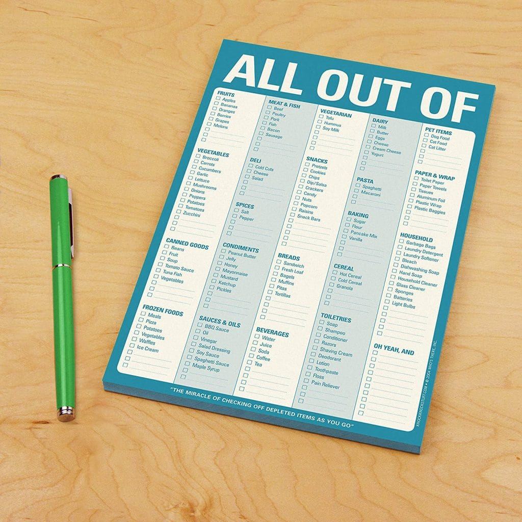 Knock Knock All Out Of Pad Grocery List Note Pad