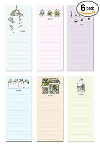 """6 Magnetic Notepads - Sweet Succulents Series - 6 Different Designs on 3.5"""" x 9"""" Pads"""