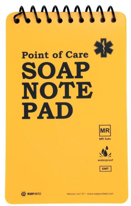 """5-Pack Full Waterproof EMT Point of Care SOAP Note Notepad 6"""" x 3-3/4"""" MRI Safe Disinfectable Version na1.02"""